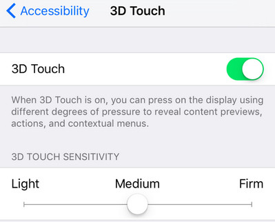 iphone 3d touch settings